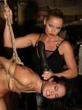 Nude brunette Barbie Pink gets tortured with hot candle wax by clothed blonde Kathia Nobili