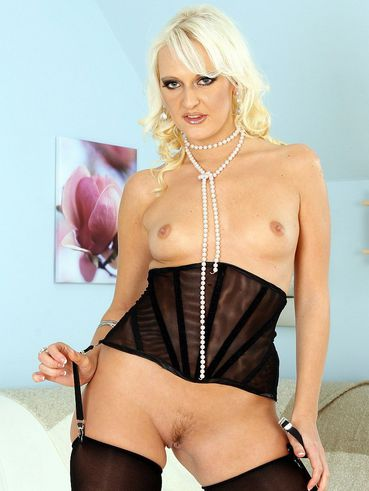 Tiny titted elegant blonde Harmony Hex in black stockings gives head and rides cock