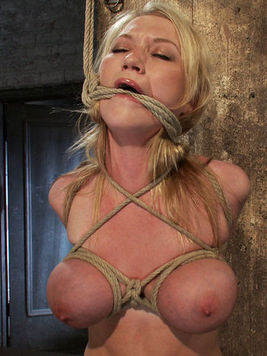 Naked big jugged slave blonde Madison Scott with smooth snatch finds herself in rope bondage