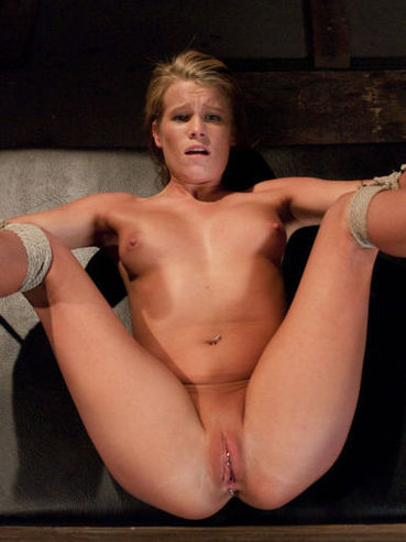 Bound shaved slave Aiden Aspen swallows master's dick and gets her asshole punished