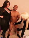 Dark skinned muscle guy with small dick gets jerked off by Emma Butt and her friend