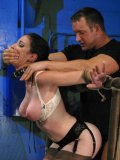 Black haired slave lady Natalie Minx gets her mouth and mouth punished by master's hard dick