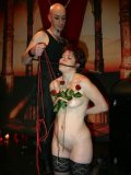 Submissive Skarlett in black nylon stockings gets toyed and whipped by her master