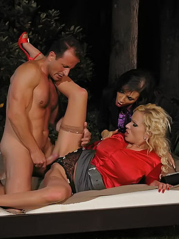 Muscle man fucks Sharon Pink together with another slut then pisses on their faces and blouses