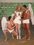 Two leashed men with angel wings double fuck demanding blonde Mandy Bright