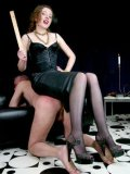 Fully nude pierced man gets ruthlessly spanked by woman in black Lady K