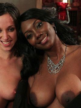 Busty black domina Nyomi Banxxx fucks white slave girl Jada Stevens in the ass