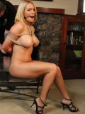 Perfect bodied busty blonde Krissy Lynn gets rope tied by the fireplace