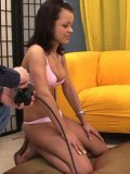 Candy Sweet and another hairy pussy lesbian play with sybian sex machine