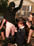 Shocked burglar gets undressed by police woman Wendy Taylor who is curious about his tiny dick