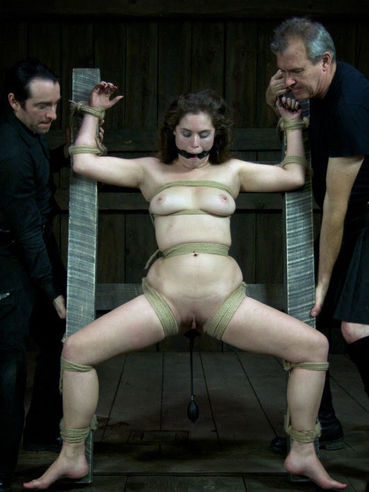 Rope bound Charlotte Vale gets her tits and clean pussy used with no mercy