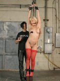 Slave blonde Heidi Mayne in red stockings gets toyed non-stop by curious master Sir Nik