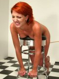 Tan skin redhead Ivy Red gets a punishment from pale skinned lesbian blonde domina Cowgirl