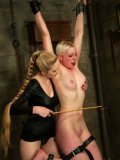 White haired shaved Lorelei Lee gets her head dunked upside down by mistress