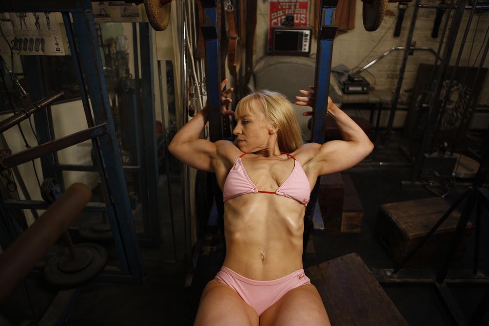 long haired female body builder