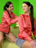 Silvia Sin has lesbian sex with brunette in identical red satin blouse and sheer nylons
