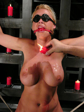 Wax covered stacked slave blonde Devon Lee gets boned and whipped by Chris Charming