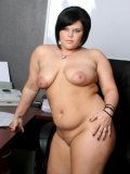 BBW girl Nikki Lane gets nude and spreads her legs to take a sex toy at the office