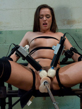 Sex hungry brunette Tori Black gets dildoed and vibrated at once by sex machine