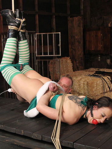 Brunette chick Cheyenne Jewel gets undressed, tied and punished in the barn