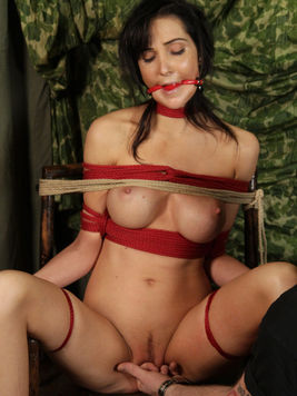 Clothed man makes naked tied up brunette Diana Prince spread for vibartor.