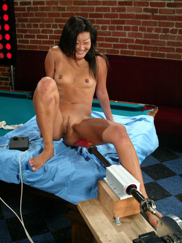 Tiny titted asian girl Lucy Lee with tight shaved pussy gets dildoed by the Intruder