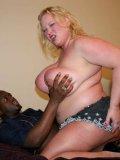 Sex obsessed blonde fattie Sienna Hills seduces dark skinned guy into fucking