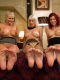 Cherry Torn, Sarah Blake and Phoenix Marie do a bit of lesbo foot fetish fisting