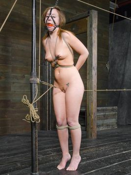 Maddy OReilly hogtied and blindfolded before her body gets tenderized during kinky bondage.