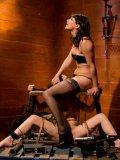 Bobbi Starr works her slave Katie St Ives in wild bizarre bondage lesbo scene
