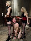 Fetish babes Aiden Starr and Dylan Ryan punishing and walking around their man slave on a leash.