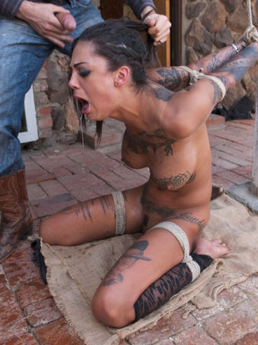 Curvy, tattoeed Bonnie Rotten squirts and moans while fucked and punished during rough bondage sex.