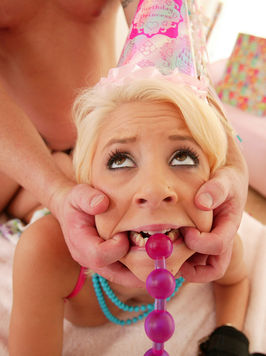 White haired teen girl Tessa Taylor has humiliating sex on her birthday
