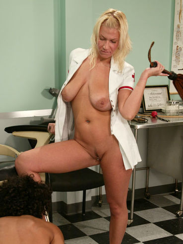 Heavy titted milfy blonde nurse Xana Star humiliates Dax Star in the hospital