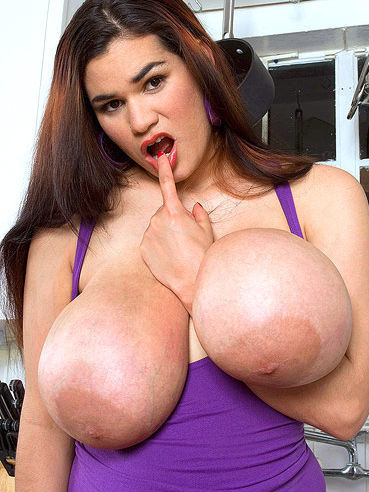 Long haired chubby latina brunette Haydee Rodriguez shows off her huge melons and pussy