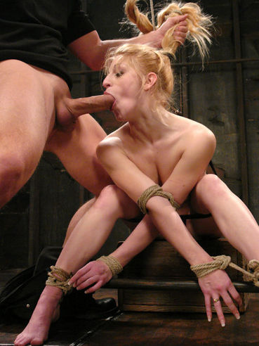 The hot looking slave Tawni Ryden is bound in the comfortable pose and fucked