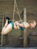 Slutty tied up blonde Tracey Sweet is hanging upside down and she is loving it.