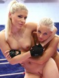 Two blondes Brandy Smile and Barbie White do a lesbian cat fight show in the ring