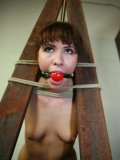Nude ball gagged redhead girl Dakota Rose finds herself tied to wood pillars