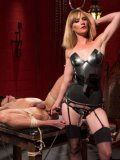Bondage mistress Mona Wales ties up a gude and stimulated her goodies with rope and a vibrator.