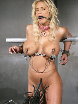 Busty Shyla Stylez and small titted Leah Wilde get punished side by side by Master Liam