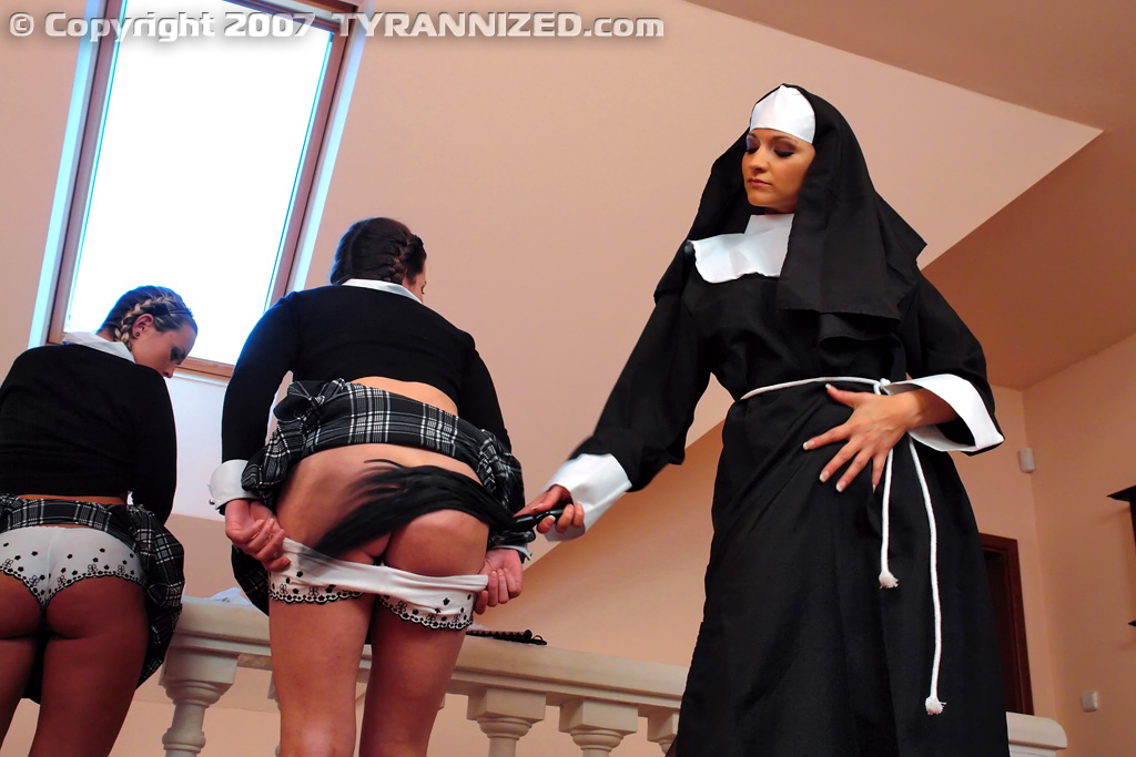 illustration of nun spanking a schoolgirl