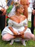 Slutty bride Miss Piss gets gang banged, cum covered and pissed on outdoors