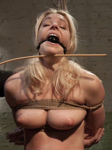 Naked Hollie Stevens with bound tits gets face fucked by Maestro and takes his sperm