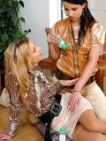Blonde Rachel Evans and two more clothed women have big fun playing with oil