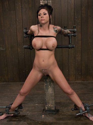 Insane tit bondage and nipple torture for inked up brunette Mason Moore.