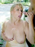 Shameless mature blonde Vivia gets her pussy poked outdoors in public place