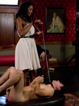 Nyomi Banxxx enjoys a hot threesome with a tied up twink and the guy fucking her from behind.