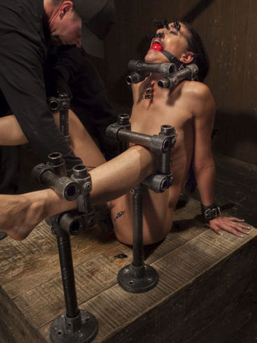 Lyla Storm stripped then hardcore gagged and having her nipples brutally gagged during bondage.