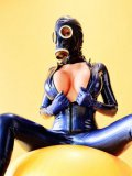 Bianca Beauchamp in gas mask unzips her tight latex suit and gets her massive jugs out